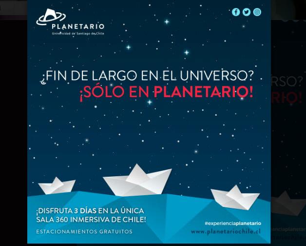 #PANORAMAS  19, 20 y 21 de mayo: ¡Fin de semana largo en PlanetarioUSACH!